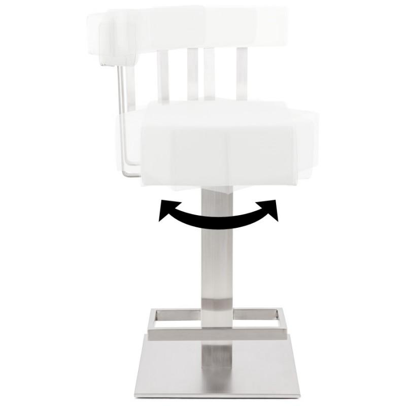 Tabouret design carré rotatif mi-hauteur ESCAULT MINI (blanc) - image 16050