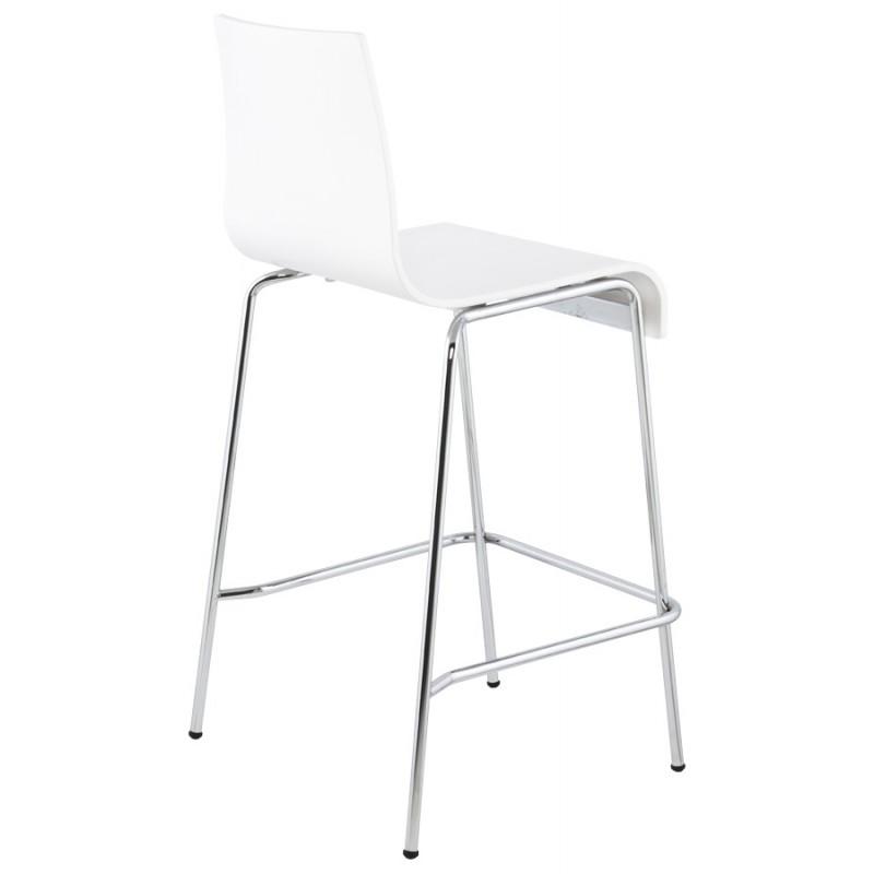 Tabouret design carré mi-hauteur SAMBRE en bois et métal chromé (blanc) - image 16072