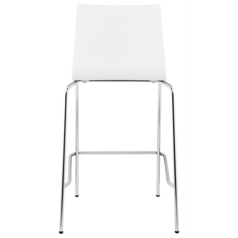 Tabouret design carré mi-hauteur SAMBRE en bois et métal chromé (blanc) - image 16073