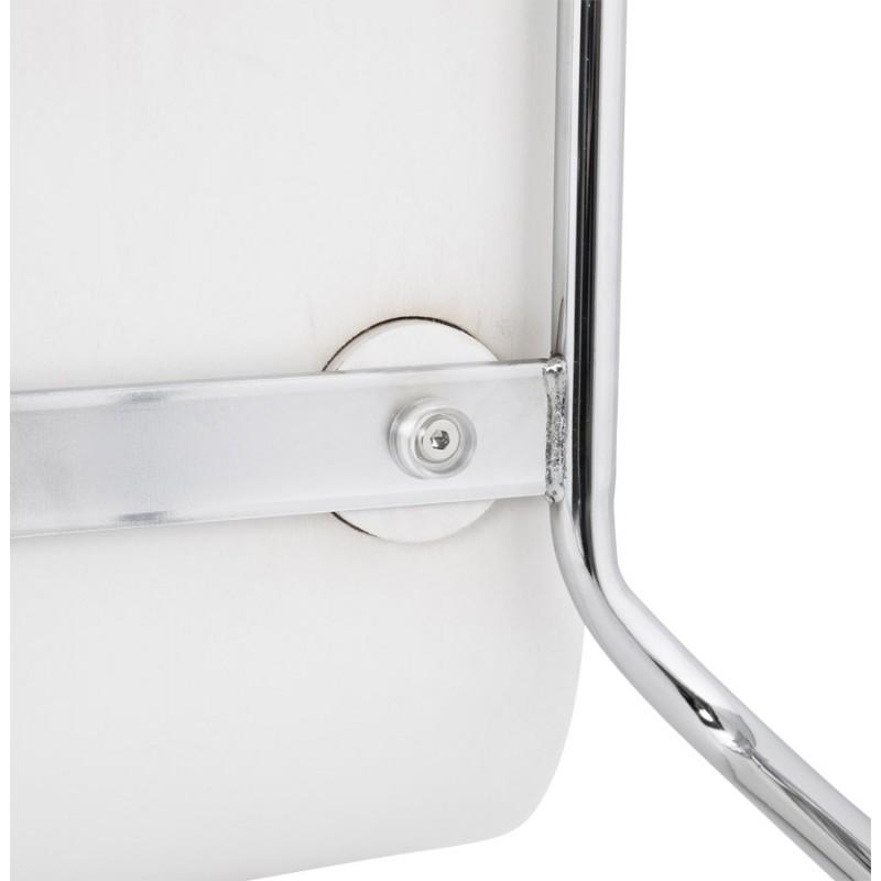 Tabouret design carré mi-hauteur SAMBRE en bois et métal chromé (blanc) - image 16077