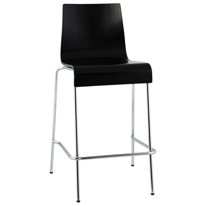 Tabouret design carré mi-hauteur SAMBRE en bois et métal chromé (noir) - image 16079