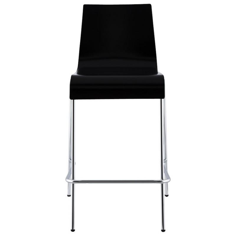 Tabouret design carré mi-hauteur SAMBRE en bois et métal chromé (noir) - image 16080