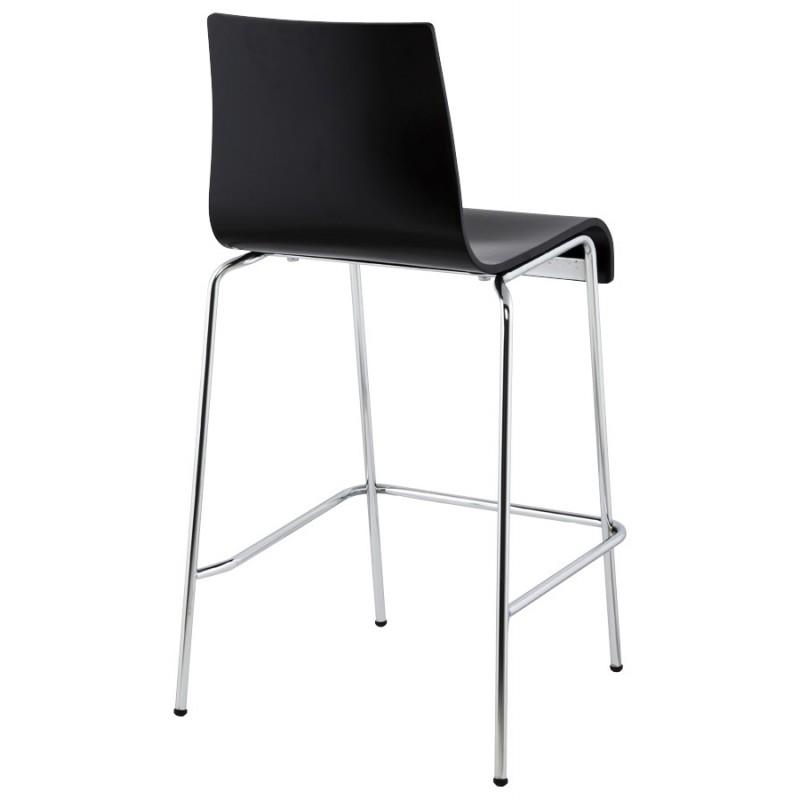 Tabouret design carré mi-hauteur SAMBRE en bois et métal chromé (noir) - image 16082