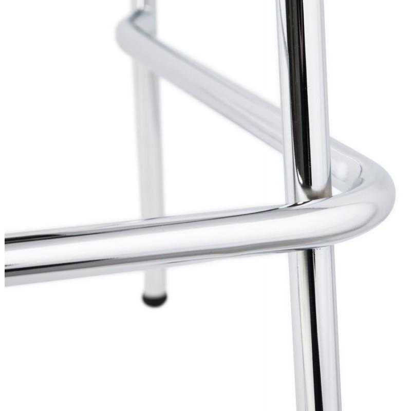 Tabouret design carré mi-hauteur SAMBRE en bois et métal chromé (noir) - image 16085