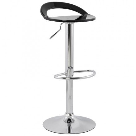 MOSELLE stool round design in ABS (high-strength polymer) and chrome metal (black)