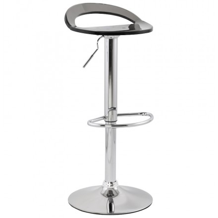 MOSELLE stool round design in ABS (high-strength polymer) and chrome metal (smoked)