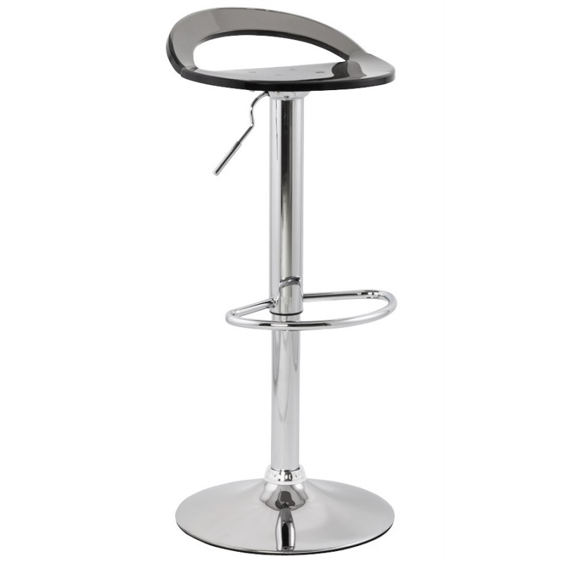MOSELLE stool round design in ABS (high-strength polymer) and chrome metal (smoked) - image 16141