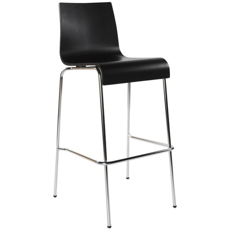 SAONE wood and chromium-plated metal stool (black) - image 16151