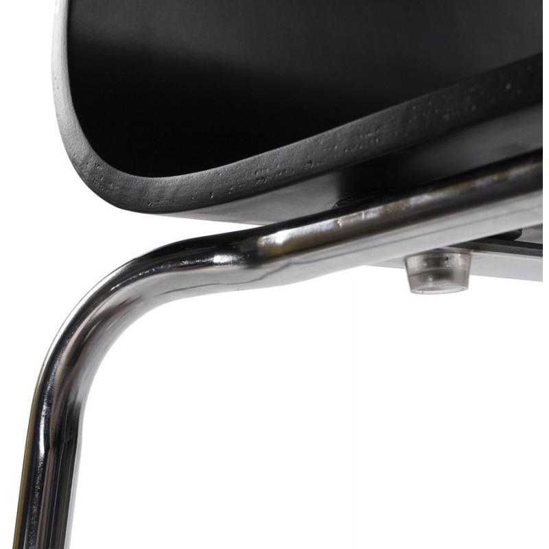 Sgabello metallo SAONE e legno cromata (nero) - image 16154