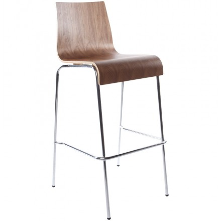 SAONE stool made of wood and chrome metal (Walnut)