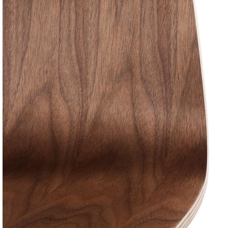 Tabouret de bar SAONE en bois et métal chromé (noyer) - image 16163