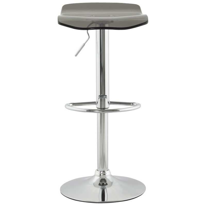 LYS Stool round design in ABS (high-strength polymer) and chrome metal (smoked) - image 16220
