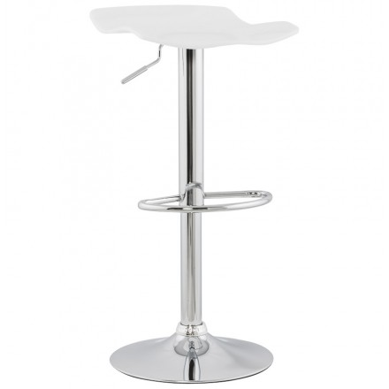 LYS Stool round design in ABS (high-strength polymer) and chrome metal (white)