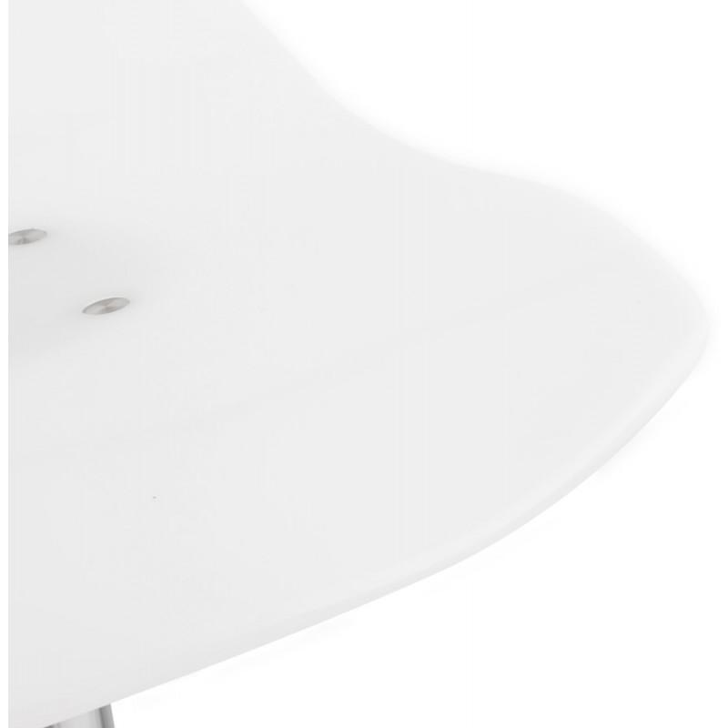 Tabouret LYS rond design en ABS (polymère à haute résistance) et métal chromé (blanc) - image 16237
