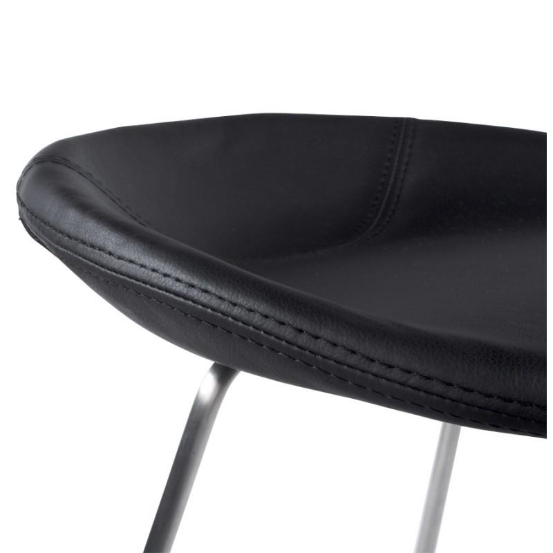 Tabouret design DOUBS en simili cuir et acier brossé inoxydable (noir) - image 16333