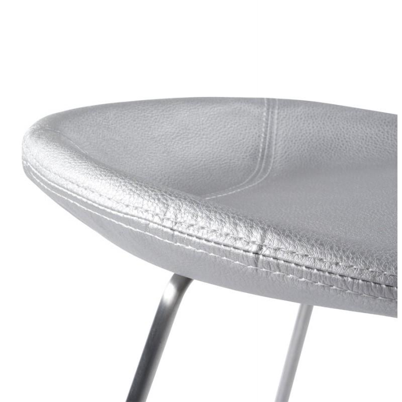 Tabouret design DOUBS en simili cuir et acier brossé inoxydable (argent) - image 16342