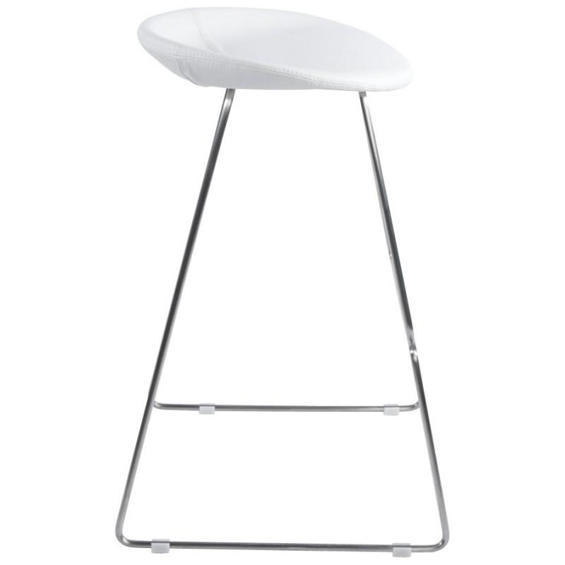 Tabouret design DOUBS en simili cuir et acier brossé inoxydable (blanc) - image 16348