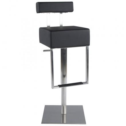 Tabouret de bar moderne rotatif et réglable GARDON (noir)