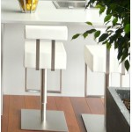 Tabouret de bar moderne rotatif et réglable GARDON (blanc)