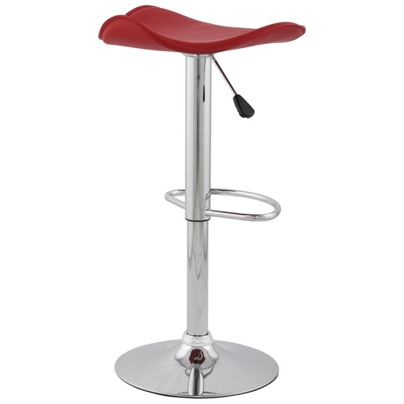 Tabouret de bar design rond ADOUR rotatif et réglable (rouge) - image 16421