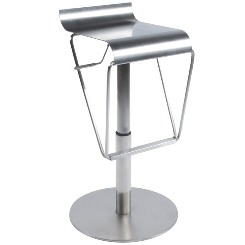 Tabouret design carré MAINE en acier brossé (acier) - image 16454