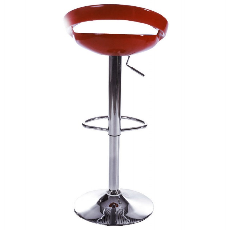 ALLIER Stool round in ABS (high-strength polymer) and chrome metal (red) - image 16595