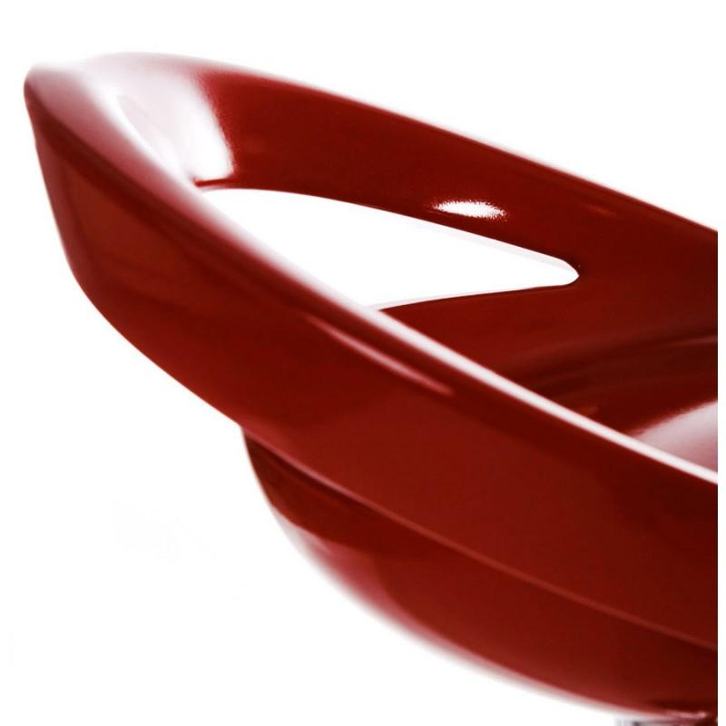 Hocker ALLIER Runde in ABS (hochfesten Polymer) und Chrom Metall (rot) - image 16596