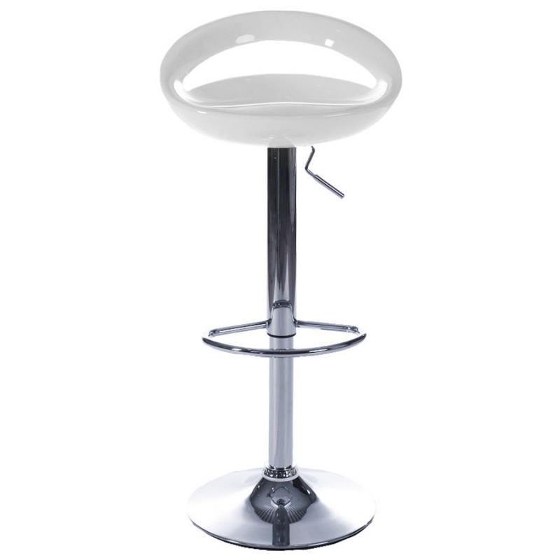ALLIER Stool round in ABS (high-strength polymer) and chrome metal (white) - image 16610