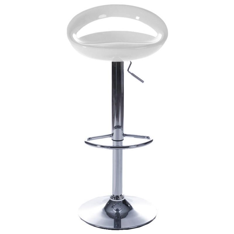 Tabouret ALLIER rond en ABS (polymère à haute résistance) et métal chromé (blanc) - image 16610