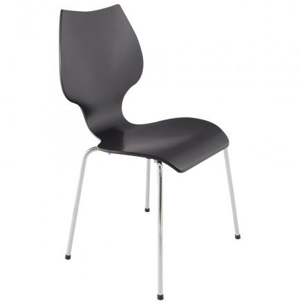 Chaise design AGOUT peinte en bois ou dérivé et métal chromé (noir)