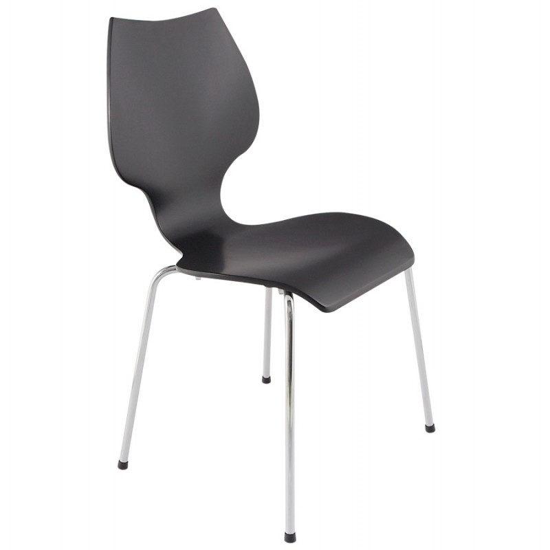 Diseño de silla AGOUT pintada en madera o derivados y cromo metal (negro) - image 16662