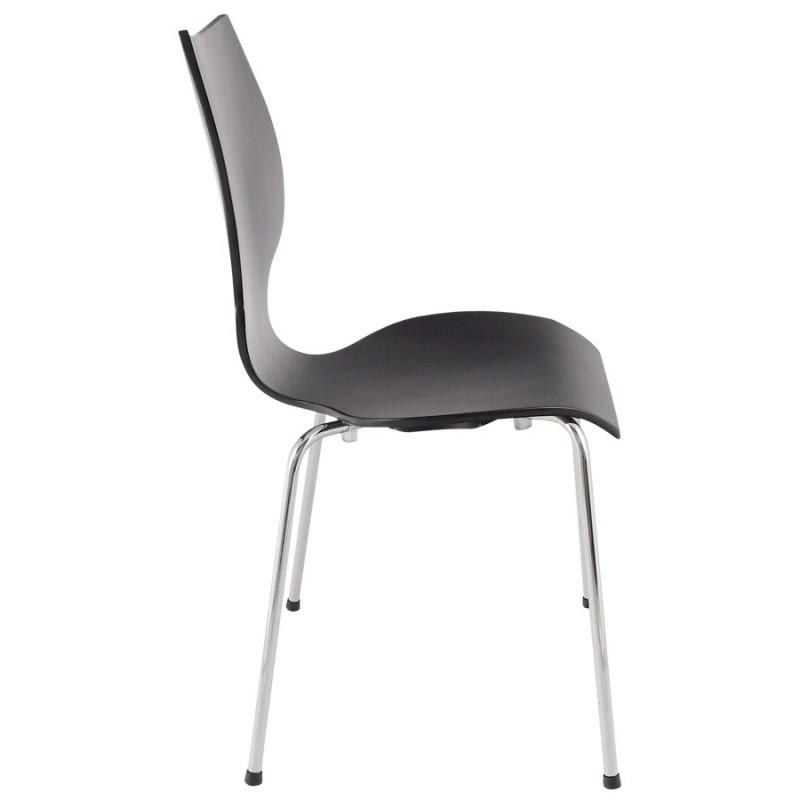 Chaise design AGOUT peinte en bois ou dérivé et métal chromé (noir) - image 16664