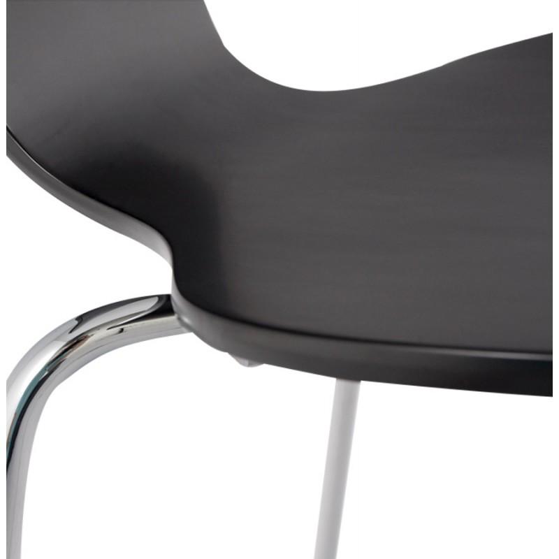Chaise design AGOUT peinte en bois ou dérivé et métal chromé (noir) - image 16668