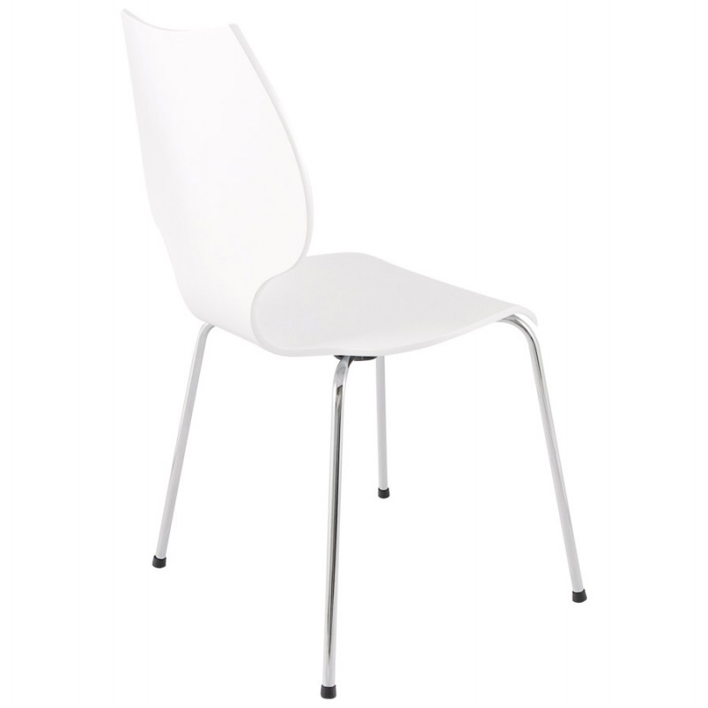 AGOUT Design chair painted wood or derived and chrome metal (white) - image 16674