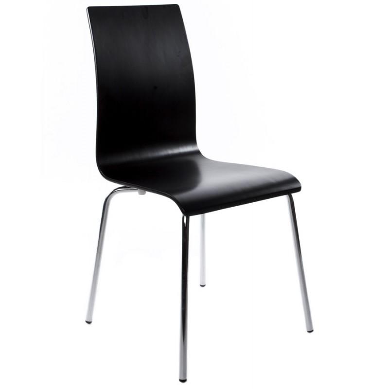 chaise polyvalente oust en bois ou d riv et m tal chrom noir. Black Bedroom Furniture Sets. Home Design Ideas