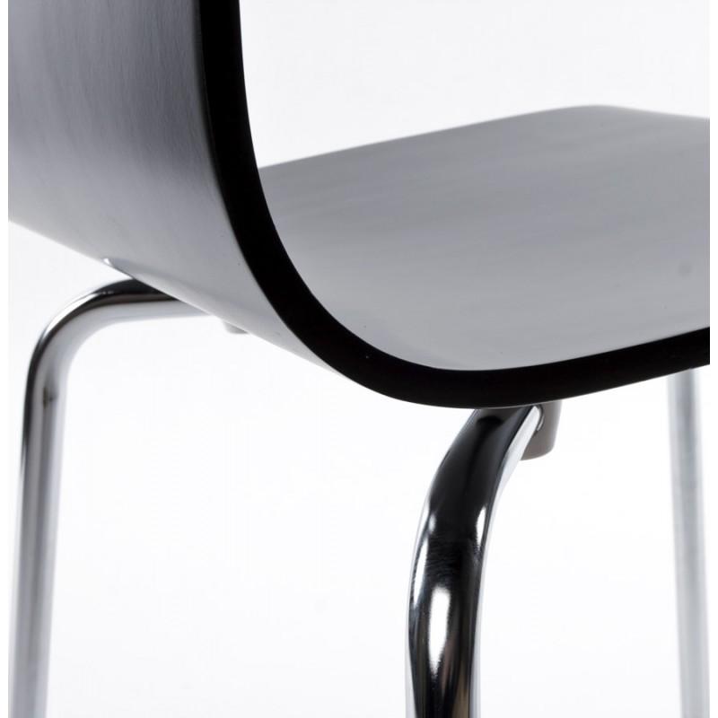 Chaise polyvalente OUST en bois ou dérivé et métal chromé (noir) - image 16683