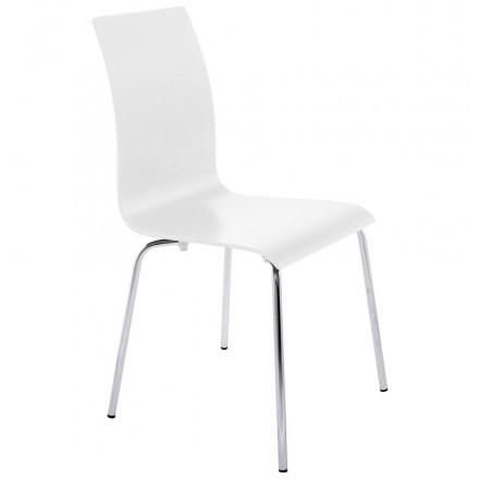 Chaise polyvalente OUST en bois ou dérivé et métal chromé (blanc)