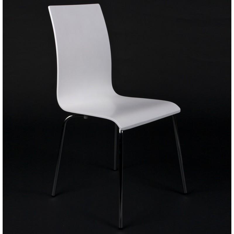 Chaise polyvalente OUST en bois ou dérivé et métal chromé (blanc) - image 16687