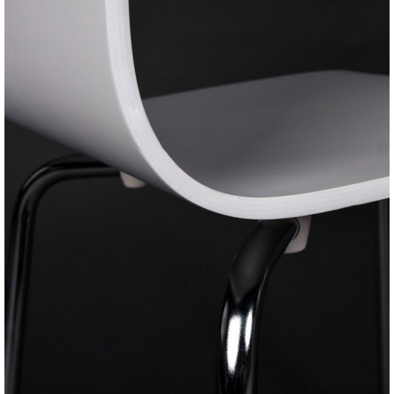 Chaise polyvalente OUST en bois ou dérivé et métal chromé (blanc) - image 16689
