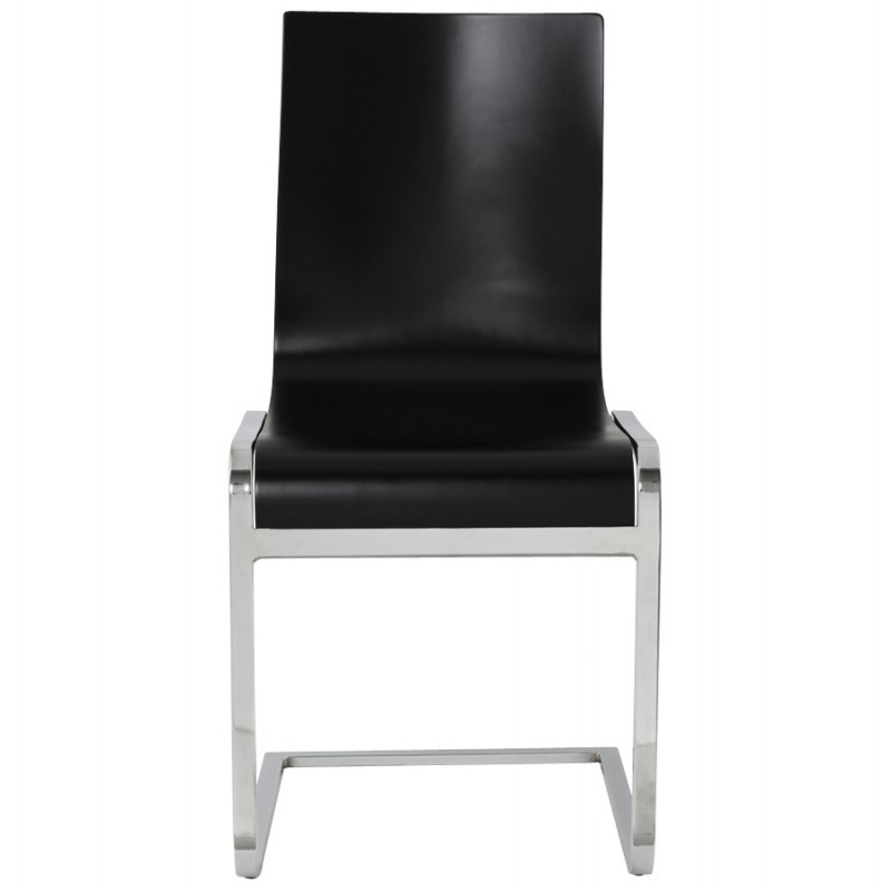 DURANCE Modern Chair wood and chrome metal (black) - image 16700