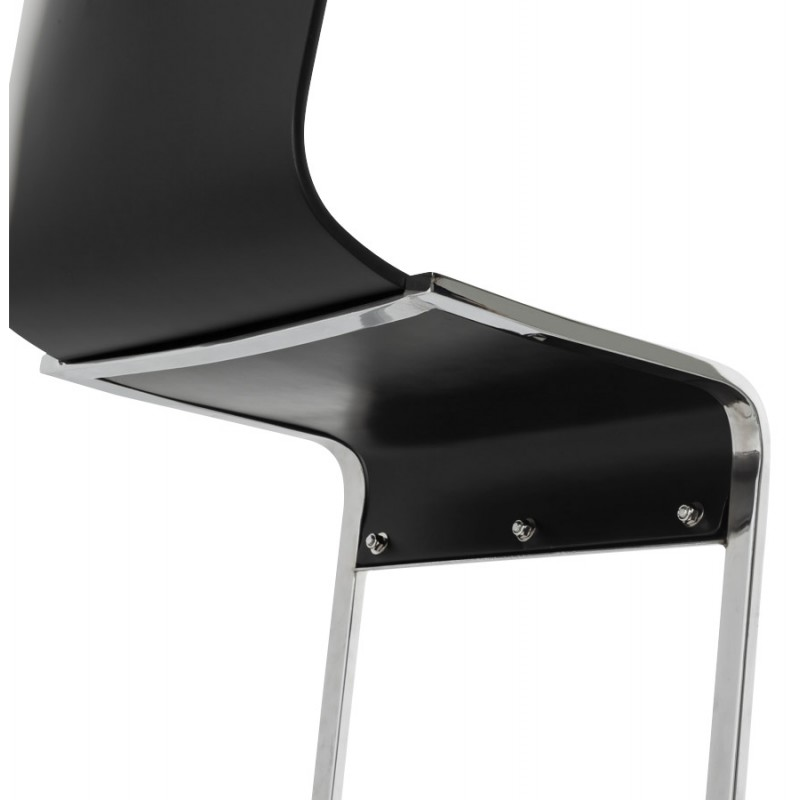 chaise moderne durance en bois et m tal chrom noir. Black Bedroom Furniture Sets. Home Design Ideas
