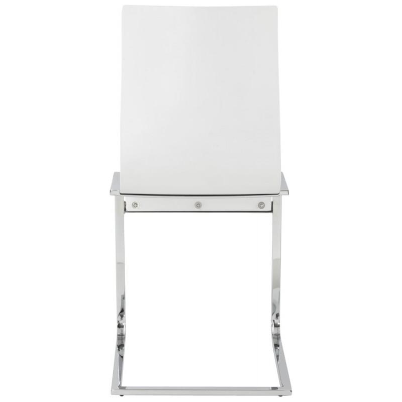 Chaise moderne durance en bois et m tal chrom blanc - Chaise blanc et bois ...