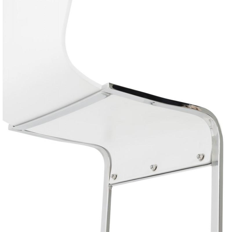 Chaise moderne durance en bois et m tal chrom blanc - Chaise metal et bois ...