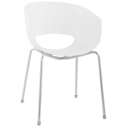 Chaise polyvalente VEZERE en polycarbonate et métal chromé (blanc)