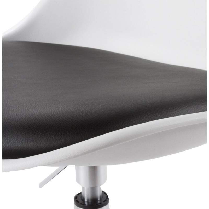 Chaise design aisne rotative et r glable blanc et noir - Chaise noir et blanc design ...