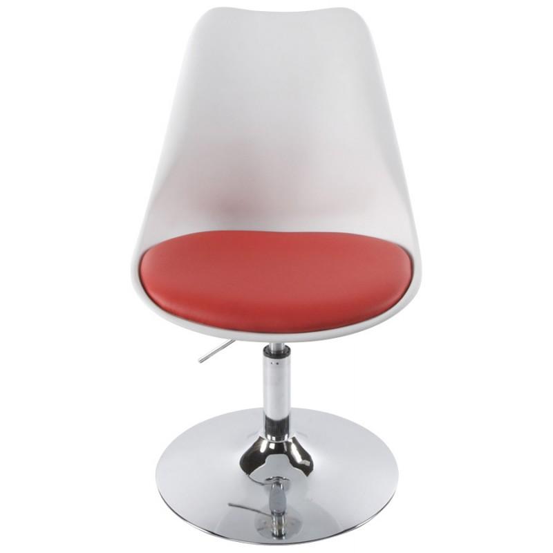 Chaise design AISNE rotative et réglable (blanc et rouge) - image 16795