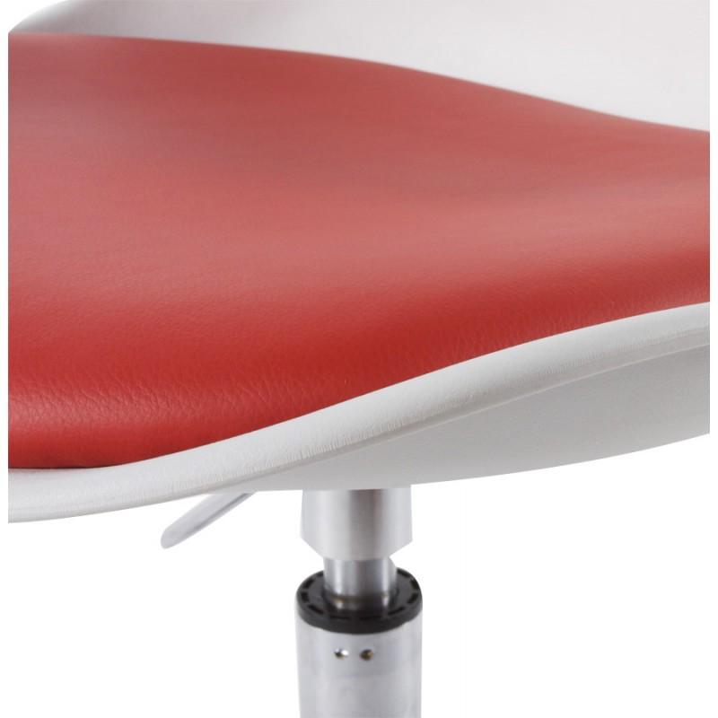 Chaise design AISNE rotative et réglable (blanc et rouge) - image 16797