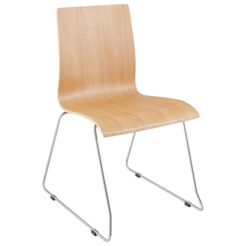 Chaise contemporaine BLAISE en bois et métal chromé (bois naturel) - image 16820