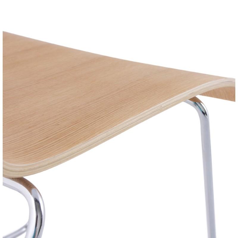 Chaise contemporaine BLAISE en bois et métal chromé (bois naturel) - image 16825