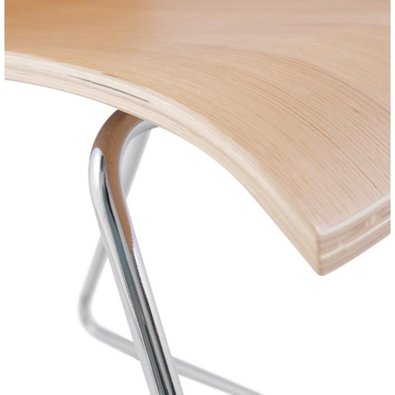 Sedia contemporaneo BLAISE in legno e metallo cromato (legno naturale) - image 16826